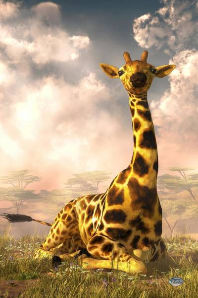 Digital Art - Sitting Giraffe by Daniel Eskridge
