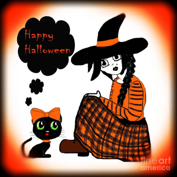 Wall Art - Photograph - Sitting Halloween Witch by Eva Thomas