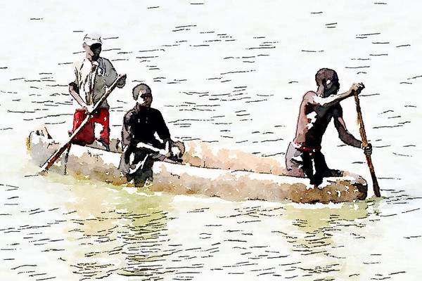 Sitting In The Boat Art Print