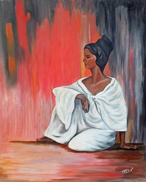 Painting - Sitting Lady In White Next To A Red Wall by Chris McCullough