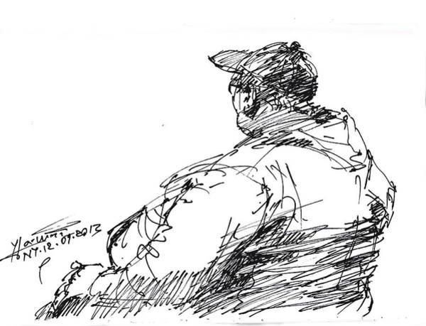 Portraits Drawing - Sitting Man by Ylli Haruni