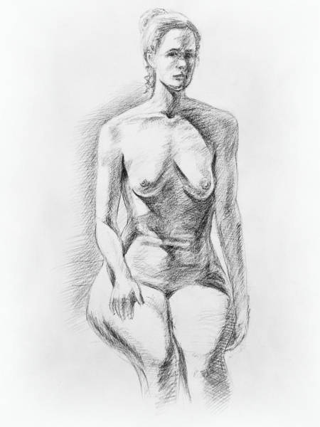Shadows Drawing - Sitting Model Study by Irina Sztukowski