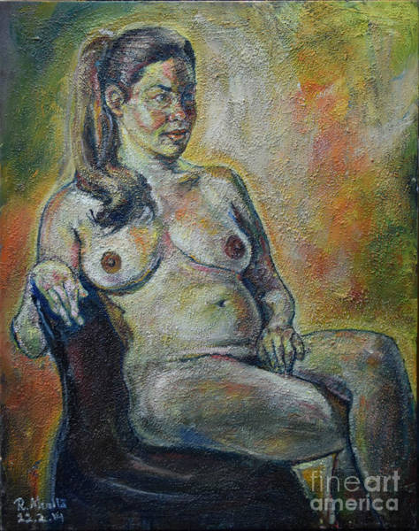 Painting - Sitting Nude by Raija Merila
