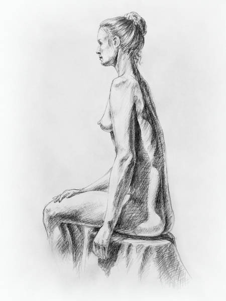 Anatomical Model Wall Art - Drawing - Sitting Woman Study by Irina Sztukowski