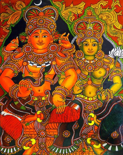 Hindu Goddess Wall Art - Painting - Siva And Parvathy by Asp Arts