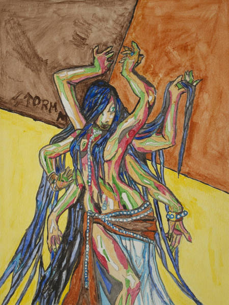 Belly Dancing Painting - Six Armed Goddess by Stormm Bradshaw