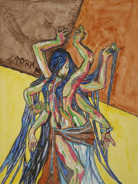 Hindu Goddess Wall Art - Painting - Six Armed Goddess by Stormm Bradshaw