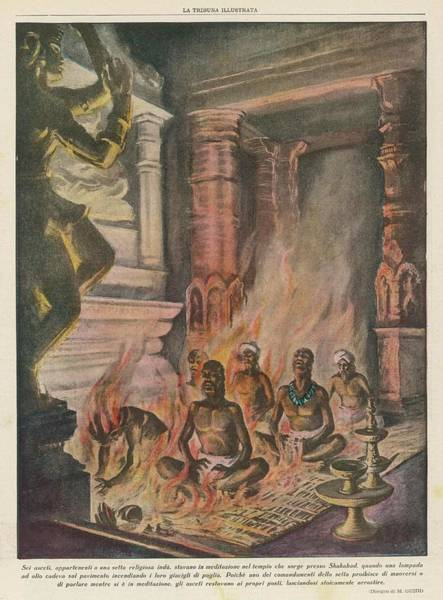 Mat Drawing - Six Ascetics Of A Hindu Sect by Mary Evans Picture Library