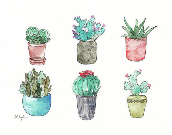 Wall Art - Painting - Six Cacti by Elise Engh