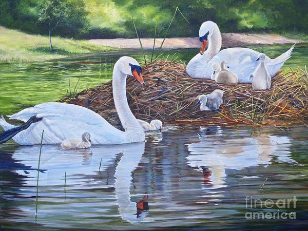 Wall Art - Painting - Six Cygnets by AnnaJo Vahle