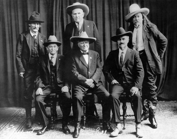 Nebraska Photograph - Six Famous Frontiersmen by Underwood Archives
