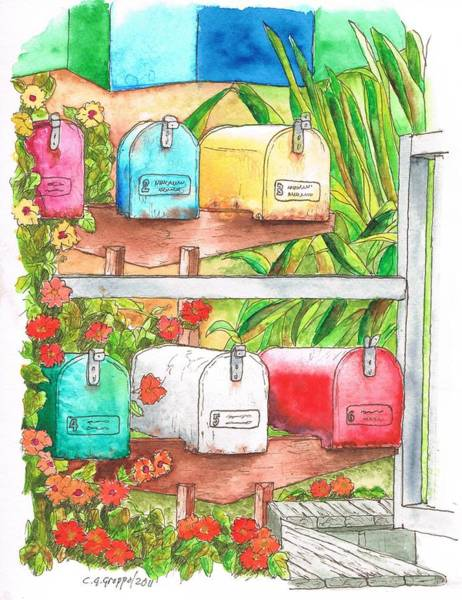 Acuarela Painting - Six Mail Boxes In Venice - California by Carlos G Groppa