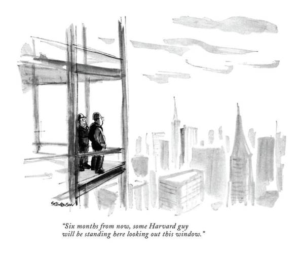 Skyscrapers Drawing - Six Months From Now by James Stevenson