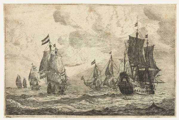 Wall Art - Drawing - Six Sailing Ships On The High Seas, Reinier Nooms by Reinier Nooms