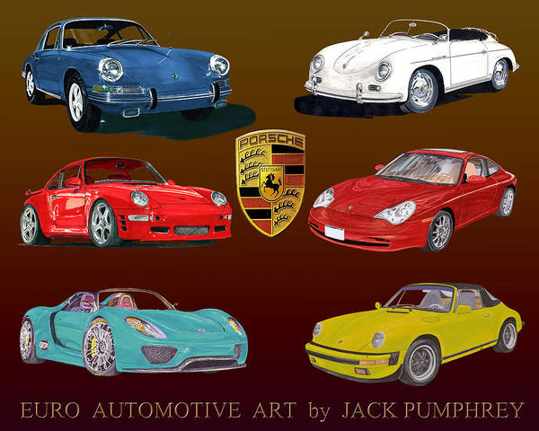 Six Painting - Six Sexy Slippery Porsche  by Jack Pumphrey