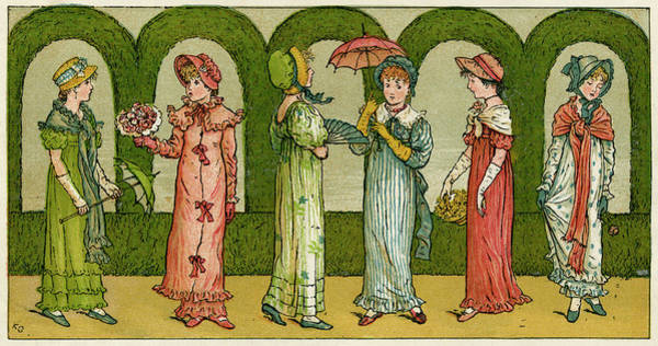 Wall Art - Drawing - Six Young Women By Kate Greenaway by  Illustrated London News Ltd/Mar