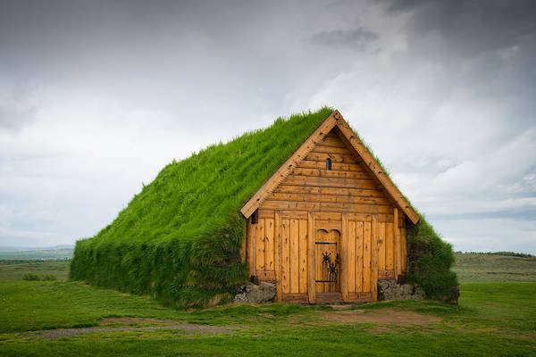 Photograph - Skalholt Iceland Grass Roof by Matthias Hauser