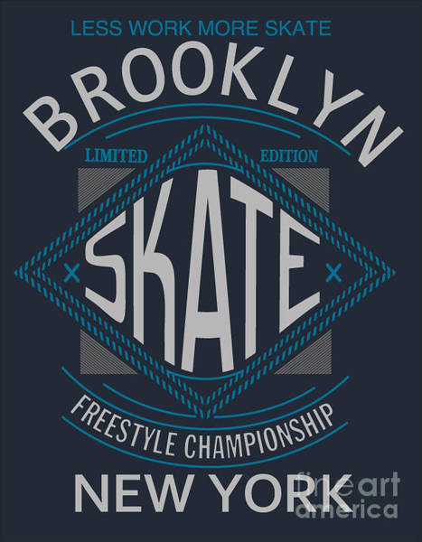 Cool Digital Art - Skate Board Typography, T-shirt by Braingraph