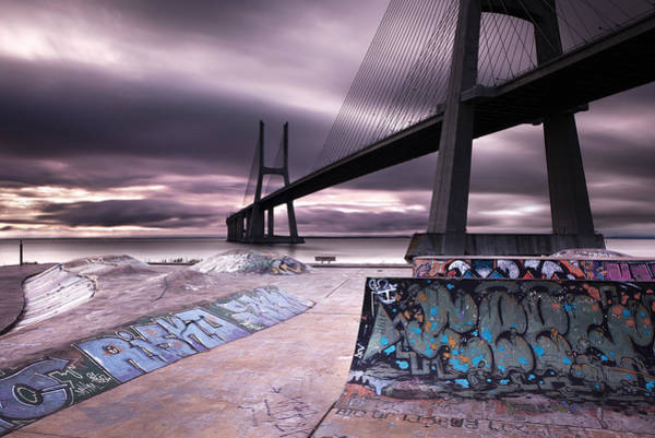 Vasco Da Gama Bridge Wall Art - Photograph - Skate Park by Jorge Maia