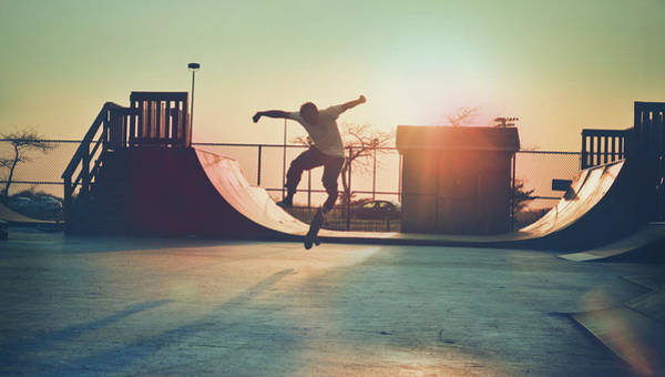 Outdoors Photograph - Skateboarder Jumping by Fran Polito