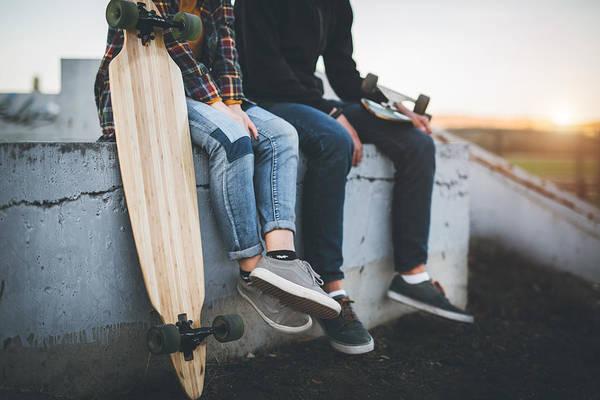 Skateboarders Taking A Rest In Skate Park Art Print by Hobo_018