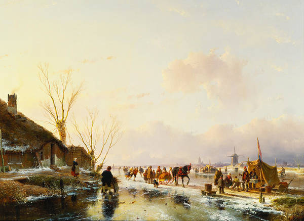 Sleigh Wall Art - Painting - Skaters By A Booth On A Frozen River by Andreas Schelfhout