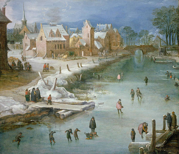 Riverbank Painting - Skaters On A Frozen River Alongside by Joos or Josse de, The Younger Momper