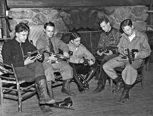 Checking Photograph - Skaters Prepare For Olympics by Underwood Archives