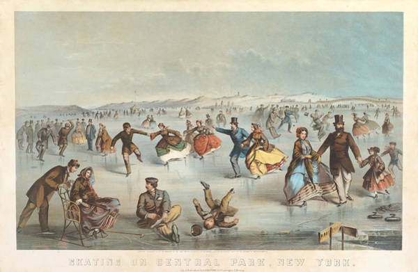 Beautiful Park Drawing - Skating In Central Park. New York by Winslow Homer