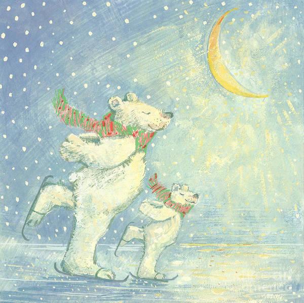 Christmas Card Painting - Skating Polar Bears by David Cooke