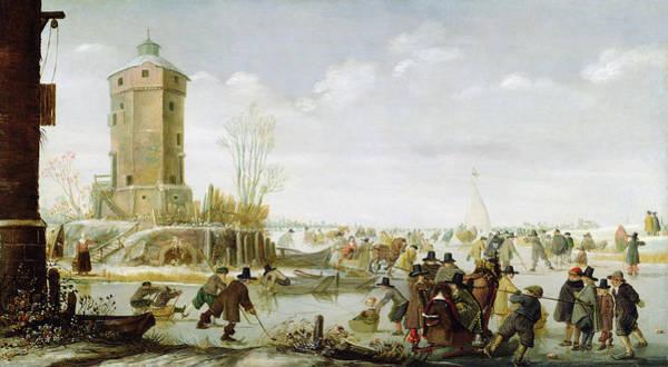 Hockey Painting - Skating Scene  by Barent Avercamp