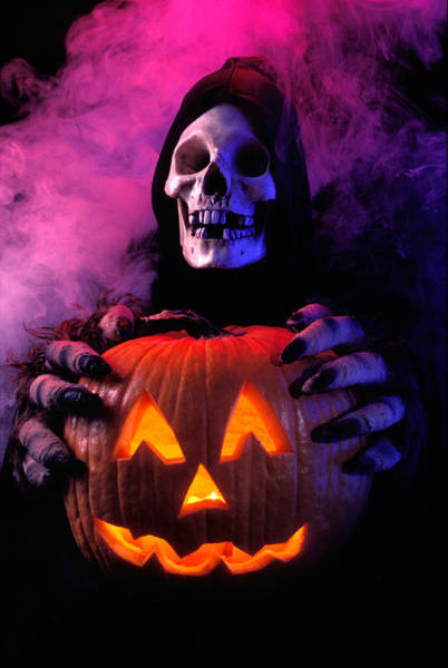 31st Photograph - Skeleton Holding Pumpkin  by Garry Gay