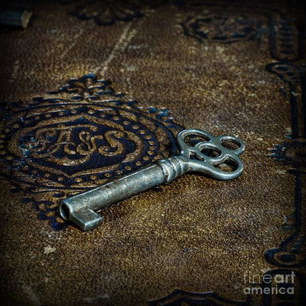 Wall Art - Photograph - Skeleton Key On Old Book Square Format by Paul Ward
