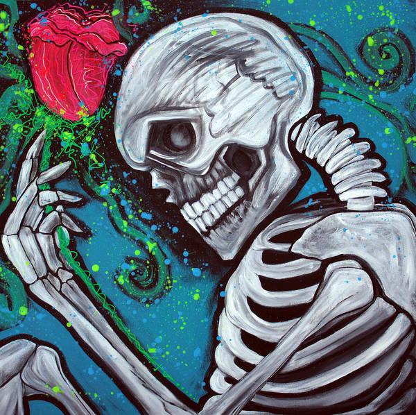 Wall Art - Painting - Skeleton Rose by Laura Barbosa