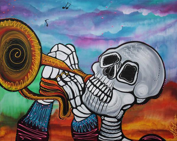 Wall Art - Painting - Skeleton Serenade by Laura Barbosa