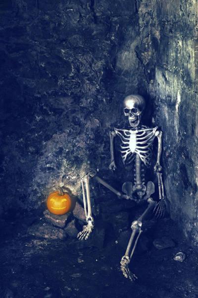 Human Bone Wall Art - Photograph - Skeleton With Jack O Lantern by Amanda Elwell