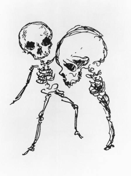 Wall Art - Drawing - Skeletons, Illustration From Complainte De Loubli Et Des Morts by Jules Laforgue