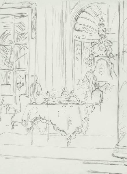Window Digital Art - Sketch Of A Formal Dining Room by Carl Oscar August Erickson
