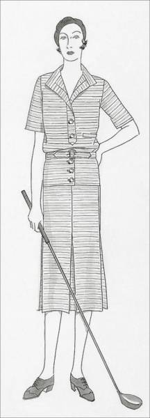 Footwear Digital Art - Sketch Of A Woman Holding Golf Club by Polly Tigue Francis
