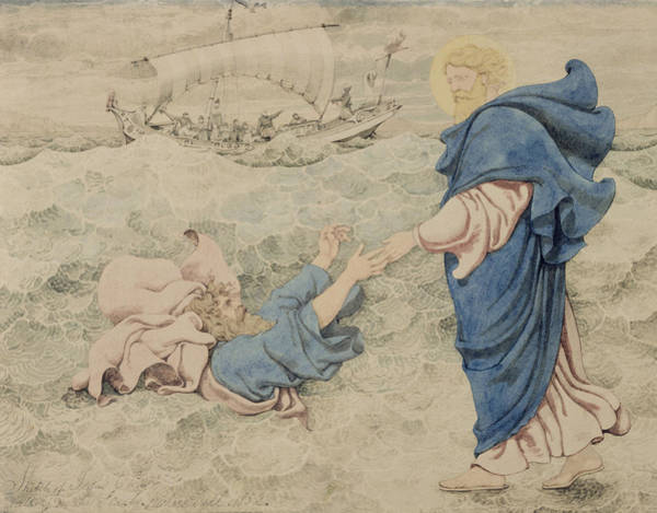 Christ Drawing - Sketch Of Christ Walking On Water by Richard Dadd