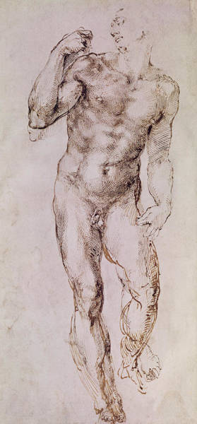 Michelangelo Painting - Sketch Of David With His Sling by Michelangelo Buonarroti