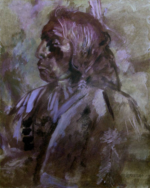 Wall Art - Painting - Sketch Of Indian by John Lautermilch