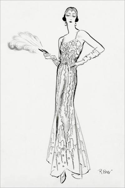 Glamour Digital Art - Sketch Of Munoz Wearing Evening Gown by Rene Bouet-Willaumez