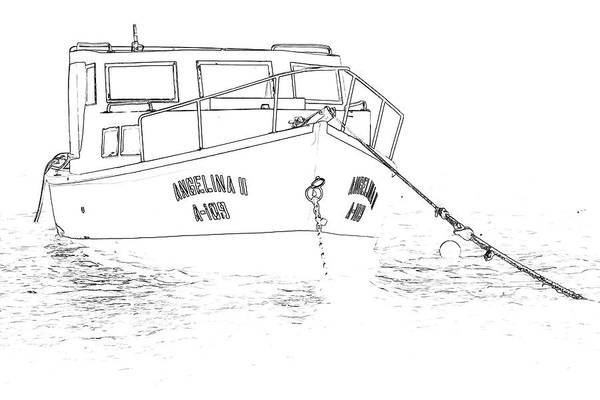 Sketch Holiday Photograph - Sketch Of The Fishing Boat Of Aruba Angelina by David Letts