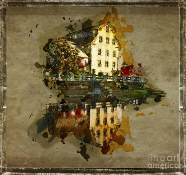 Wall Art - Digital Art - Sketch Of The Old Mill - Cedarburg by Mary Machare