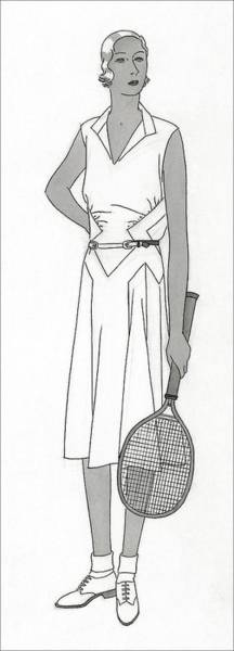 Sports Digital Art - Sketch Of Woman In Tennis Dress by Polly Tigue Francis