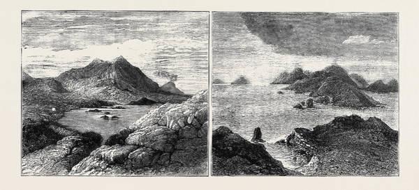 Lava Drawing - Sketches In The Lipari Islands Left Image Vulcanello by English School