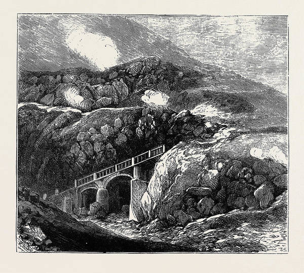 Lava Drawing - Sketches In The Lipari Islands Newly Constructed Bridge by English School
