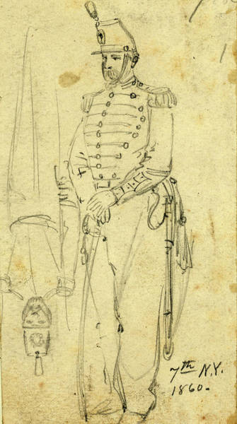 Wall Art - Drawing - Sketches Of Soldiers Wearing The 7th New York Cavalry by Quint Lox