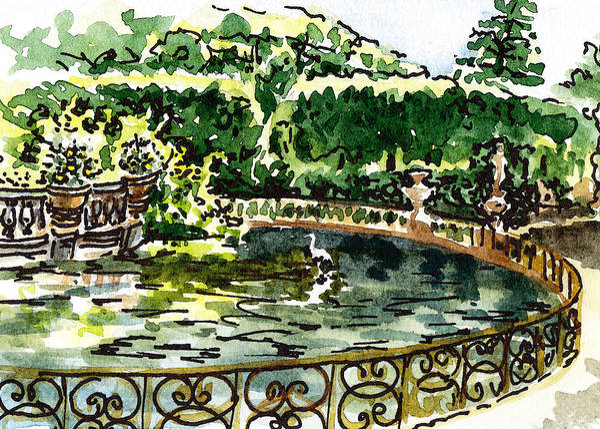 Painting - Sketching Italy Florence Boboli Gardens Of Pitti Palace by Irina Sztukowski